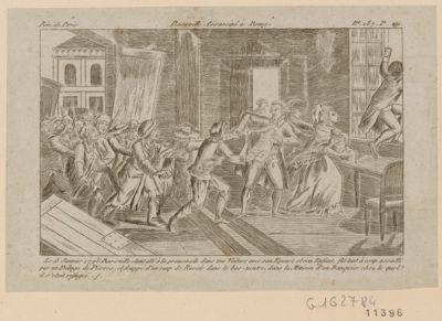 Basseville assassiné à Rome le 13 janvier 1793, Basseville etant allé à la promenade dans une voiture avec son epouse et son enfant, fut tout à coup assailli par un déluge de pierres, et frappé d'un coup de rasoir dans le bas-ventre dans la maison d'un banquier chez le quel il s'était réfugié : [estampe]