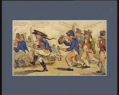 The  New Prussian exercise or the Allied armies distressed in their rears with a hint at the convenience of sans culottes for Brunswick's Duke with ninety thousand men march.d into France and then - march'd out again : [estampe]