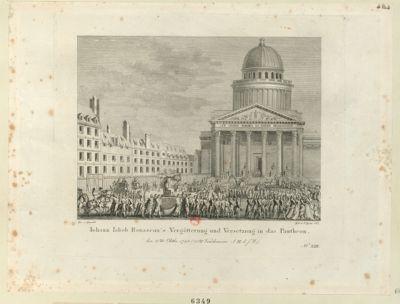 Iohann Iakob Rousseau's Vergöttering und Versetzung in das Pantheon [estampe]