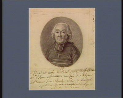 a flachat curé de Notre Dame de St Chamo[nt] et d'Isieu prédicateur du Roy de Pologne Instituteur d'une Charité École de travail deputé de la Senéchaussée de Lyon à <em>l</em>'[Assemblée] n. de 1789 : [dessin]