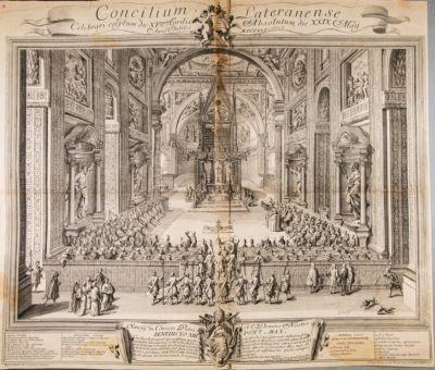 Chiesa di S. Giovanni in Laterano. Interno durante il Concilio Lateranense 1725