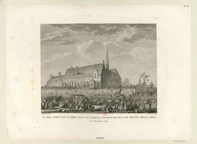 Le  Roi arrivant a <em>Paris</em> avec sa famille, escorté de plus de trente mille ames le <em>6</em> octobre <em>1789</em> : [estampe]