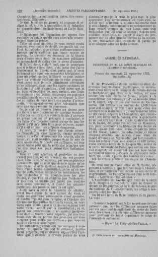 Tome 9 : Du 16 septembre au 11 novembre 1789 - page 122