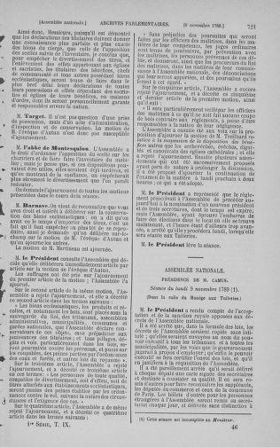 Tome 9 : Du 16 septembre au 11 novembre 1789 - page 721