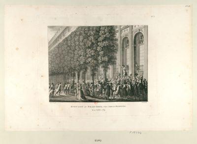 Motion faite au Palais Royal par Camille Desmoulins le 12 juillet 1789 : [estampe]