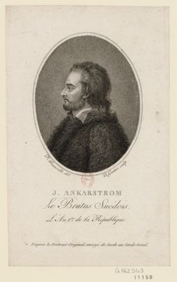 J. Ankarstrom le Brutus suédois l'an 1.er de la République, d'après le portrait original envoyé de Suède du Cercle Social : [estampe]