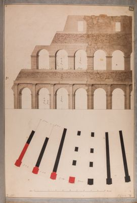 Colosseo, prospetto e pianta di restauro