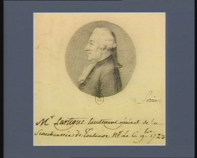 Mr Lartigue lieutenant général de la sénéchaussée de Toulouse né le 6 9.bre 1723 : [dessin]