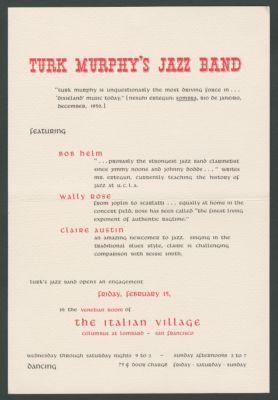 Mailing from Italian Village, advertising Turk Murphy Jazz Band