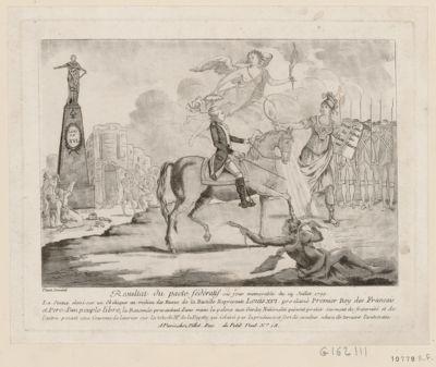 Resultat du pacte fédératif ou jour memorable du 14 juillet 1790 la statue elevé sur un obelisque au milieu des ruine de la Bastille represente Louis XVI proclamé premier Roy des français et pere d'un peuple libre... : [estampe]