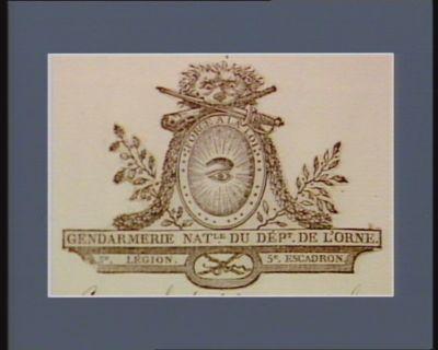 Gendarmerie nat.le du Dépt. de l'Orne 3.<em>e</em> légion 5.<em>e</em> escadron : force a la loi : [estampe]