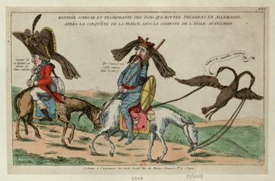 Rentrée joyeuse et triomphante des Don-Quichottes prussiens en Allemagne, après la conquête de la France, sous la conduite de l'aigle autrichien [estampe]