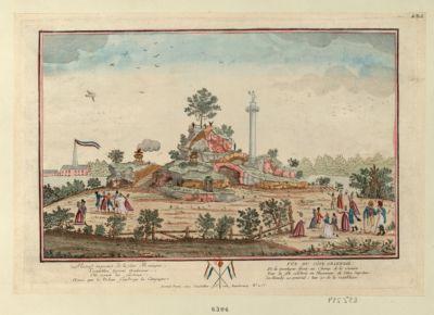 Vue du côté oriental de la montagne élevée au Champ de la Réunion pour la fête célébrée en l'honneur de l'Etre suprême [estampe]