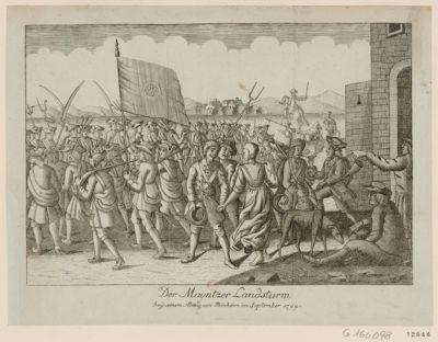 Der  Mayntzer Landsturm beÿ seinem Abzug von Steinheim im September 1799 [estampe]