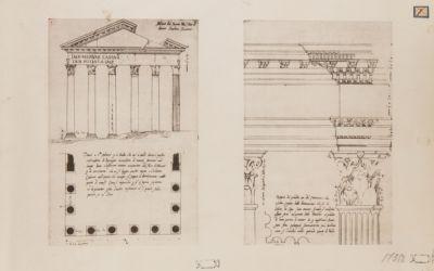 Foro di Nerva, Tempio di Minerva, pianta e alzato