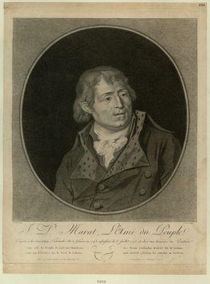 J.P. Marat, l'ami du peuple député à la Convention nationale, né à Genève en 1743, assassiné le 13 juillet 1793 et élevé aux honneurs du Penthéon... : [estampe]