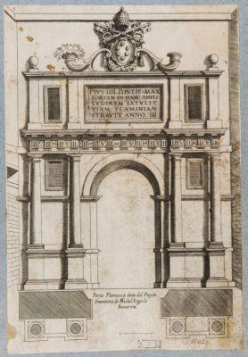 Porta Flaminia, prospetto e pianta, esterno