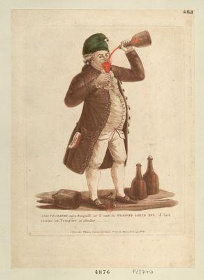 Aristocrates soyez tranquille sur la santé du traitre Louis XVI, il boit comme un templier en attendant [estampe]