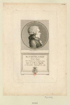M. Castelanet notaire royal. Né à Toulon le 23 aoust 1754. Député de la ville de Marseille à l'Assemblée nationale de 1789 : [estampe]