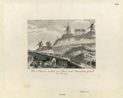 Die  Kanonen werden von Paris nach Montmartre gebracht den 15 Jul. 1789 : [estampe]