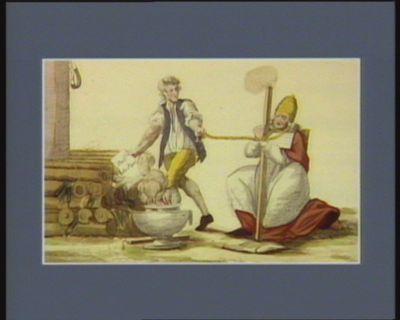 Le  Bref du Pape brulé au Palais Royal le 4 may 1791 par un grand nombre de citoyens et l'on y a joint un manequin representant Sa Sainteté : [estampe]