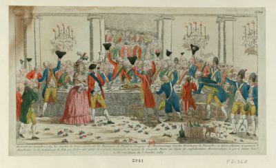 Le  Trente un septembre <em>1789</em> les gardes du corps regalèrent les regiments de Flandres dragons de Montmorency gardes nationaux de Versailles et autres plusieurs troquerent d'uniformes et ils terminerent la fete par fouler aux pieds la cocarde nationale et mirent la cocarde noire, en signe de confédération aristocratique ce qui a donné lieu à la revolution du <em>5</em> octobre <em>1789</em> : [estampe]