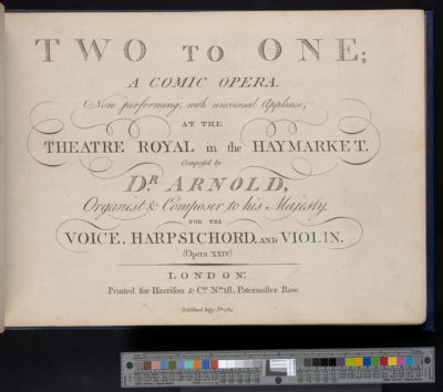 Two to one : a comic opera now performing, with universal applause, at the Theatre Royal in the Haymarket : for the voice, harpsichord, and violin, opera XXIV