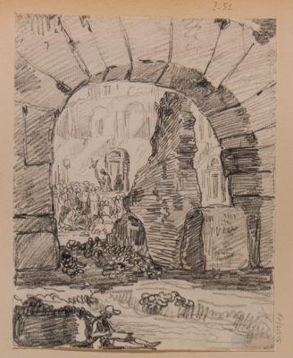 Colosseo, interno. Particolare di un arco con sfondo