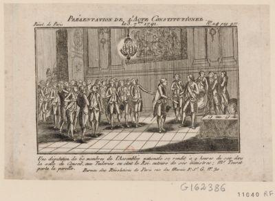 Présentation de l'acte constitutionel le 3 7.bre 1791 une députation de 60 membres de l'Assemblée nationale se rendit à 9 heures du soir dans la salle du conseil, aux Tuileries ou étoit le Roi, entouré de ses ministres ; Mr Touret porta la parolle : [estampe]