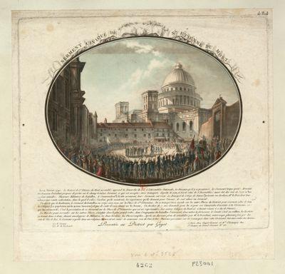 Serment civique de St Etienne du Mont le 4 fevrier 1790. Le district de St Etienne du Mont assemblé, apprend la demande du roi <em>à</em> l'Assemblée nationale... : [estampe]
