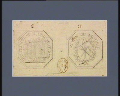 [Deux projets de timbres octogonaux] [dessin]