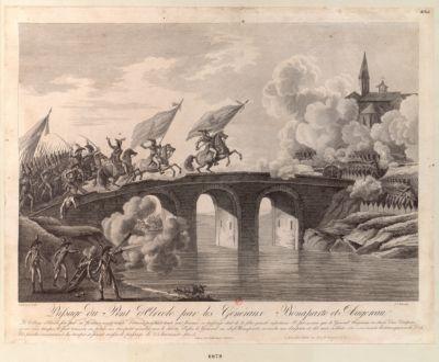 Passage du pont d'Arcole par les généraux Bonaparte et Augereau le village d'Arcole fort par sa position ... : [estampe]