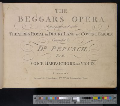 The beggars opera : as it is performed at the Theatres Royal in Drury Land and Covent Garden : for the voice, harpsichord, and violin