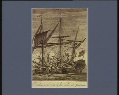 22 Français que la trahison avoit jetté dans les prisons de Gibraltar rendez-vous : vite à la voile et partons. 20 novembre 1794 (v.s.) : [estampe]