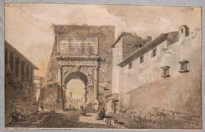 Arco di Tito prima del restauro visto dalla via Sacra