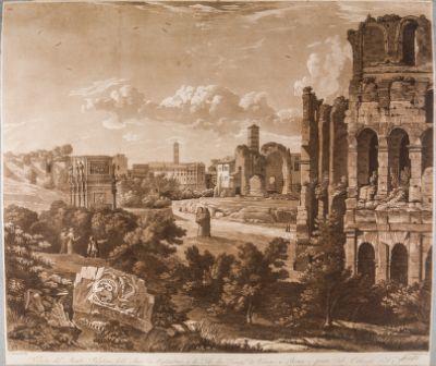 Colosseo, valle., veduta del Palatino, dell'Arco di Tito e di Costantino