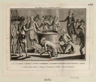 Les  Jacobins lavent leurs confreres galeriens, soldats de Château Vieux 1. soldats Chateau Vieux. 2. S. Huruge. 3. Fauchef. 4. Villette. 5. Brissot. 6. Chabot : [estampe]