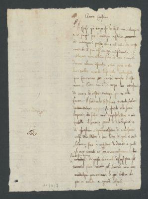 Minuta di lettera di Paolo Veratti a [ Feliciano Scarpellini] con supplica da inoltrare al cardinale Saverio Castiglioni, vescovo di Cesena, 1816