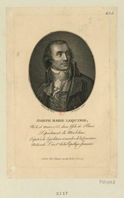 Joseph Marie Lequinio né le 16 mars 1755 dans l'isle de Rhuis, département du Morbihan, député à la Législative et membre de la Convention nationale, l'an 1.er de la République françoise : [estampe]