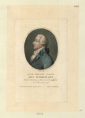 Louis Philippe Joseph duc d'Orléans né le 13 avril 1747, mort sur l'echaffaut, le 6 novembre 1793 : [estampe]