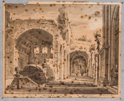 Basilica di Costantino, dettaglio dell'arcata e portico verso Santa Francesca Romana