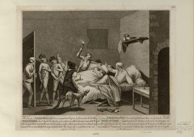 The  Young Loiserolles was in a profound sleep in his Prison, when the Satellites of Robespierre came to drag him to the place of execution [estampe]