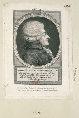 Honoré Gabriel C.te de Mirabeau député de la sénéchaussée d'Aix à l'Assemblée nationale en 1789, élu président le 29 janvier 1791, mort le 2 avril 1791... : [estampe]