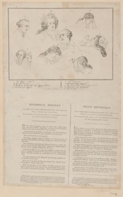 Historical account of <em>the</em> <em>last</em> interview of Louis XVI <em>with</em> <em>his</em> <em>family</em>, before <em>his</em> execution to elucidate <em>the</em> second print of <em>the</em> series formed on that interesting event : [estampe]