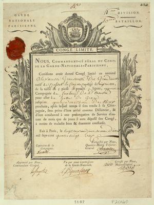 Congé limité nous, commandant-général du corps de la Garde nationale parisienne... : [estampe]