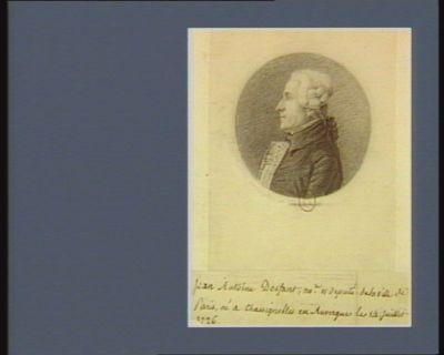 Jean Antoine Dosfant no. re et député de la ville de <em>Paris</em> né à Chassignoles en Auvergne le 14 juillet 1726 : [dessin]