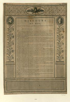 Discours du roi, prononcé le 5 mai <em>1789</em>, jour où Sa Majesté a fait l'ouverture des Etats-Généraux [estampe]