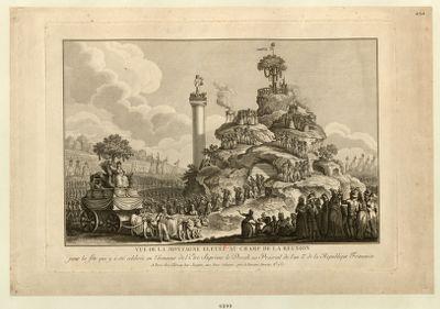 Vue de la montagne elevée au Champ de la Reunion pour la fête qui y a été célebrée en l'honneur de l'Etre <em>Suprême</em> le Decadi 20 Prairial de l'an 2.me de la Republique Française : [estampe]