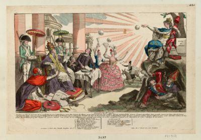 Bulles du 18e siècle pendant que Pie VI environné de sa garde fait jou-jou, l'abbé Royou armé d'un paquet de plumes qu'un général d'ordre lui <em>a</em> taillées avec un poignard, fait mousser le savon apostolique... : [estampe]