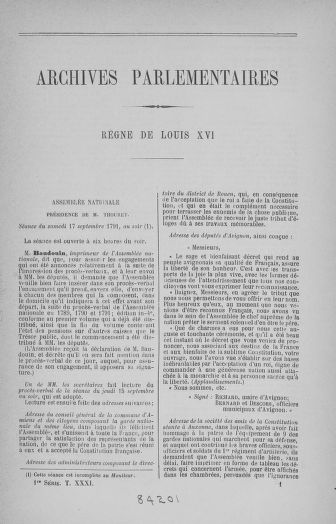 Tome 31 : Du 17 au 30 septembre 1791 - page ..
